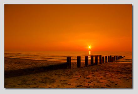 Oranje Zon op Canvas